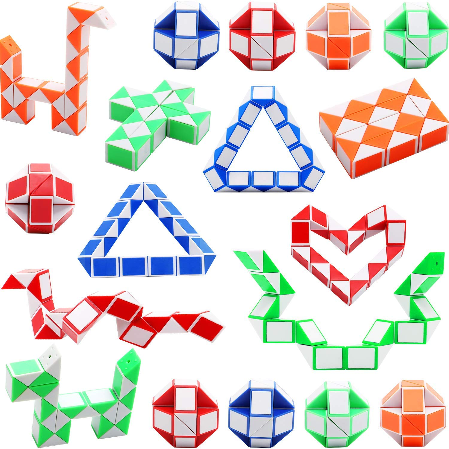 d2850d1b64734 Sunshane 18 Pack 24 Blocks Magic Snake Cube, Mini Snake Speed Cubes, Twist  Puzzle Toys for Kids Party Bag Fillers, Party Favours, Random Color