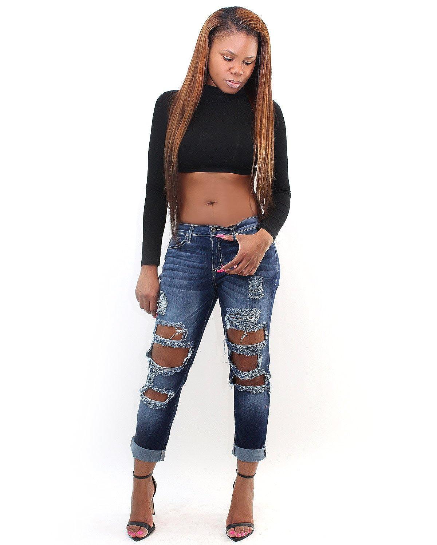 7TwentyFour Distressed Boyfriend Jeans