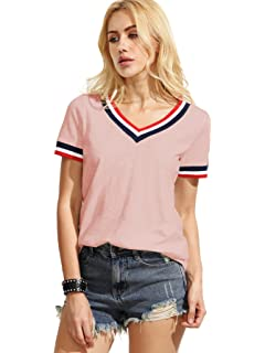 ef5c13278b48 ROMWE Women s Casual Short Sleeve Cute T-Shirt V-Neck Summer Cotton Tops