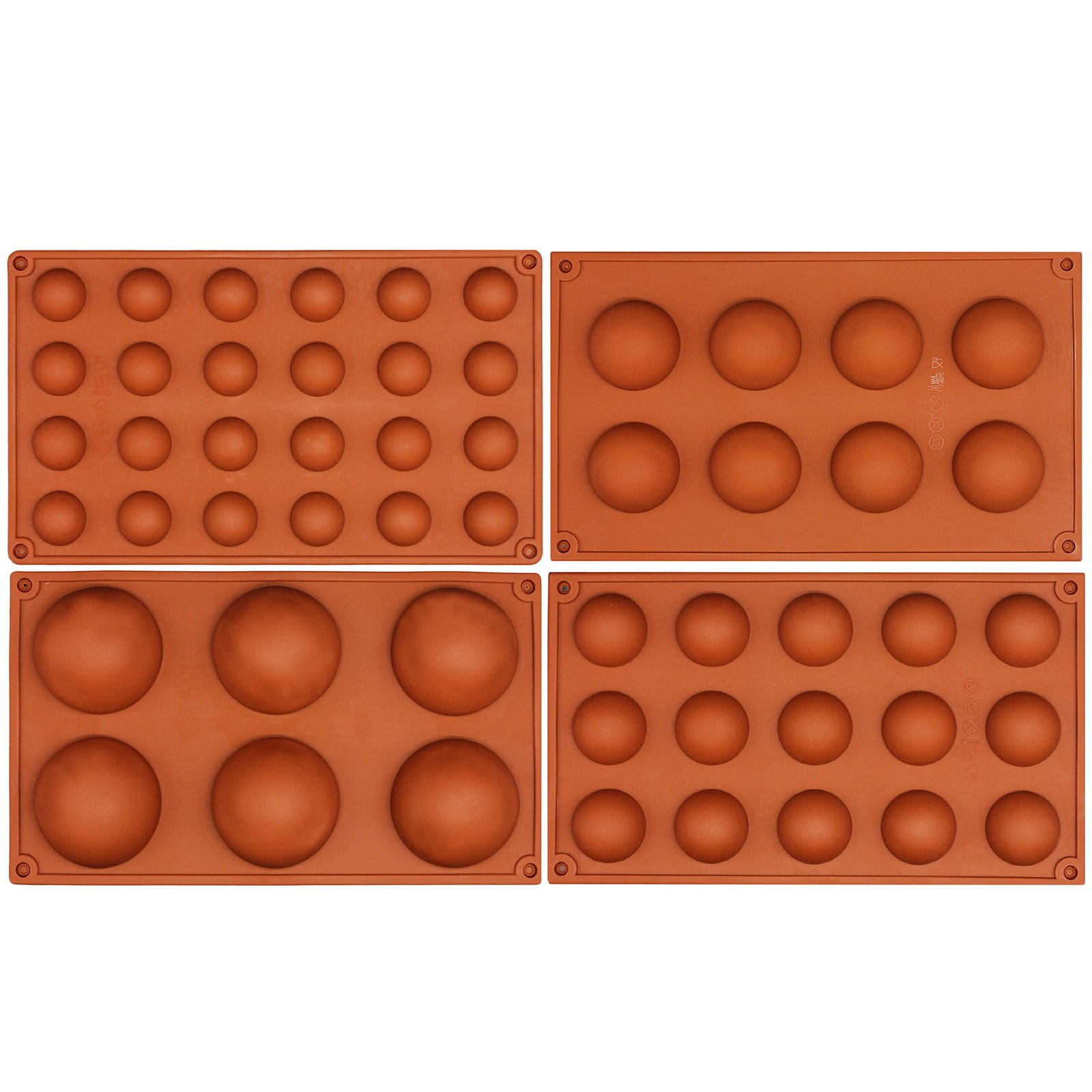 Funshowcase Half Circle Silicone Mold Bombe Teacake Baking Pan Assorted Size 4 in Set
