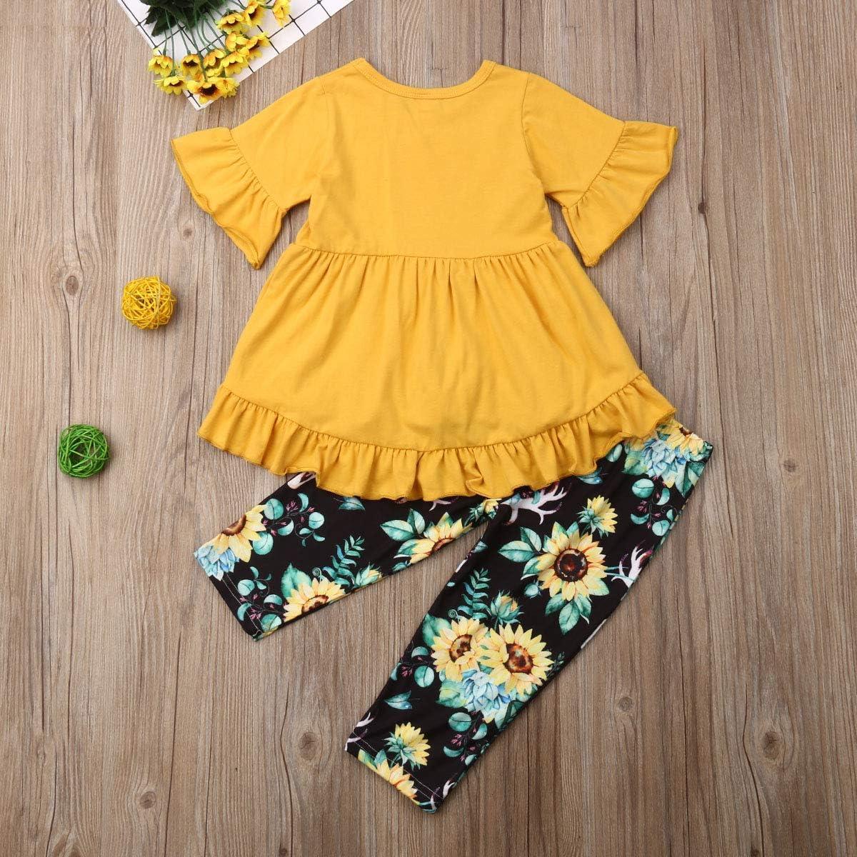 Toddler Girl Clothes Flare Sleeve Yellow Deer Shirt Top Ruffle Dress Sunflower Long Pants Leggings Outfit Set