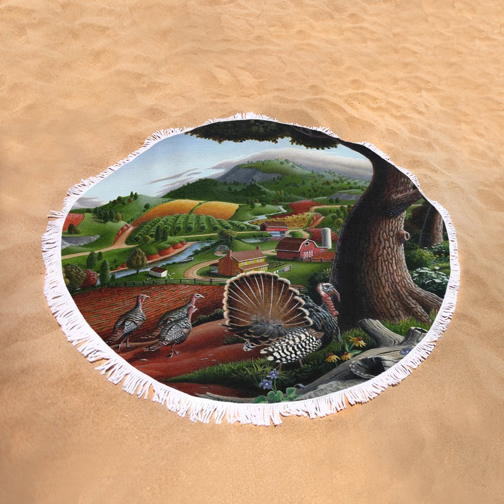 Pixels Round Beach Towel With Tassels featuring ''Wild Turkeys Appalachian Thanksgiving Landscape - Childhood Memories - Country Life - Americana'' by Walt Curlee