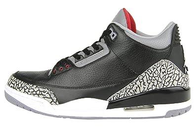 f06f7ed8414ef Nike Men's Air Jordan 3 Retro Black Cement Black Leather Sneaker 12 D(M) US