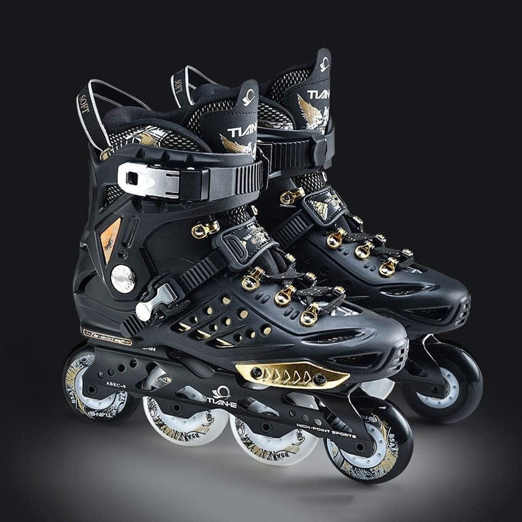大人のプロのスケートユニセックスインラインスケートファンシーシューズ初心者ローラースケートフラットフラワースケート (Color : 黒, Size : EU 41) 黒 EU 41