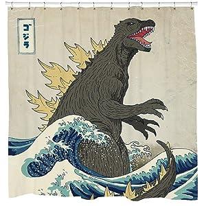 Sharp Shirter Awesome Godzilla Shower Curtain Set Vintage Japanese Decor Beach Theme Art Mancave Bathroom Artwork Hooks Included