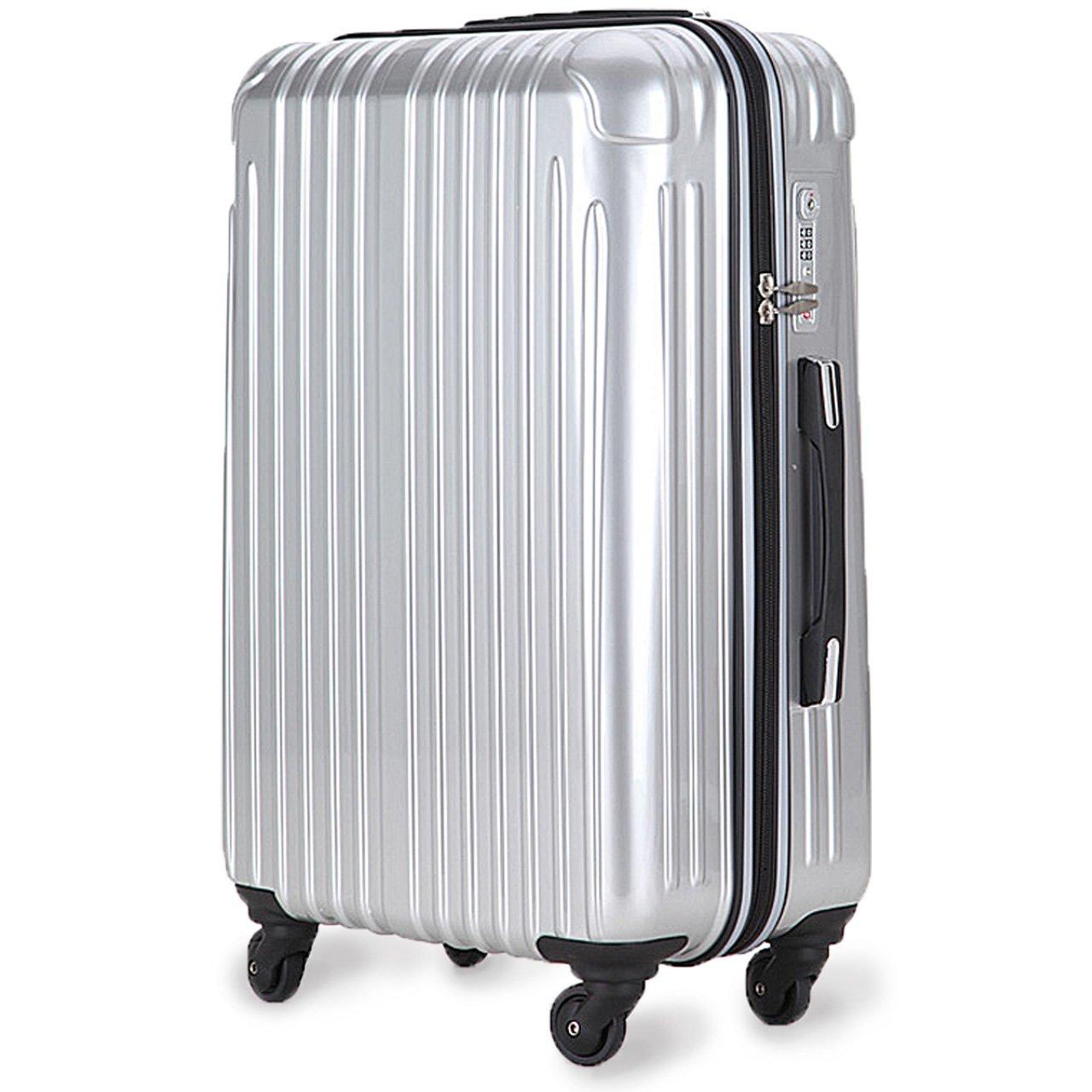 strike[ストライク]超軽量 2年保証 スーツケース TSAロック搭載 旅行バック トランクケース 旅行カバン B07586YW7J 大型アウトレット|シルバー シルバー 大型アウトレット