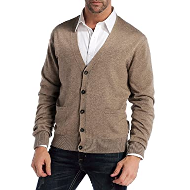 50d51b5aadd0 Kallspin Men s Relax Fit V-Neck Cardigan Cashmere Wool Blend Button Down  with Pockets