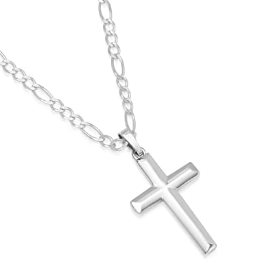 Xp jewelry mens sterling silver cross pendant figaro chain necklace xp jewelry mens sterling silver cross pendant figaro chain necklace italian made 080 3mm aloadofball Images
