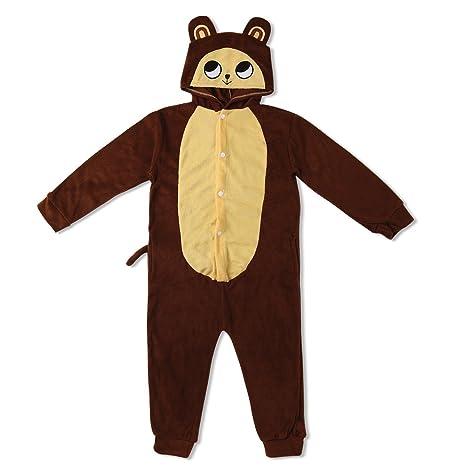 Katara Pijama con Capucha para niños Mono, Color marrón, 5-7 años (