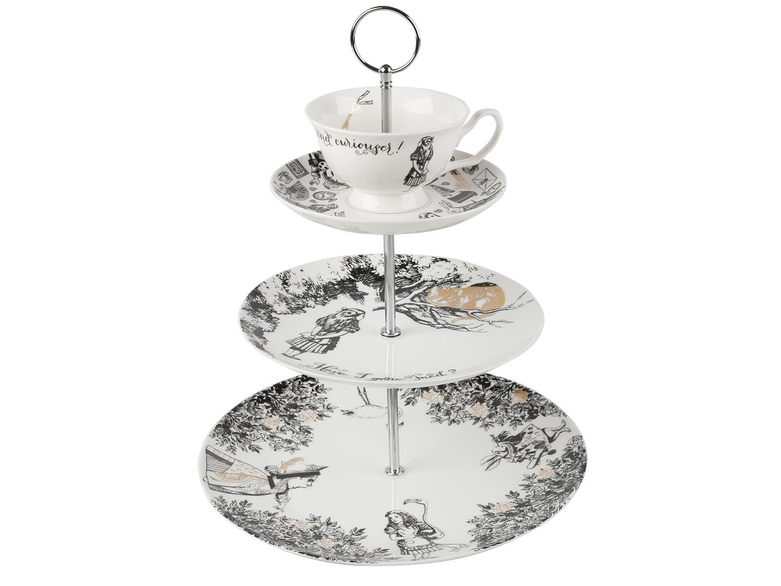 Creative Tops V&A Alice in Wonderland 3 Tier China Teacup Cake Stand Gift Boxed