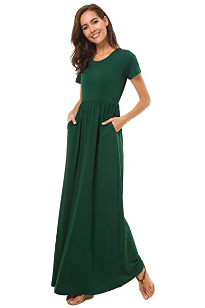 buy cheap reliable quality great look Coreal Women Short Sleeve Loose Plain Maxi Casual Long Dress with Pockets