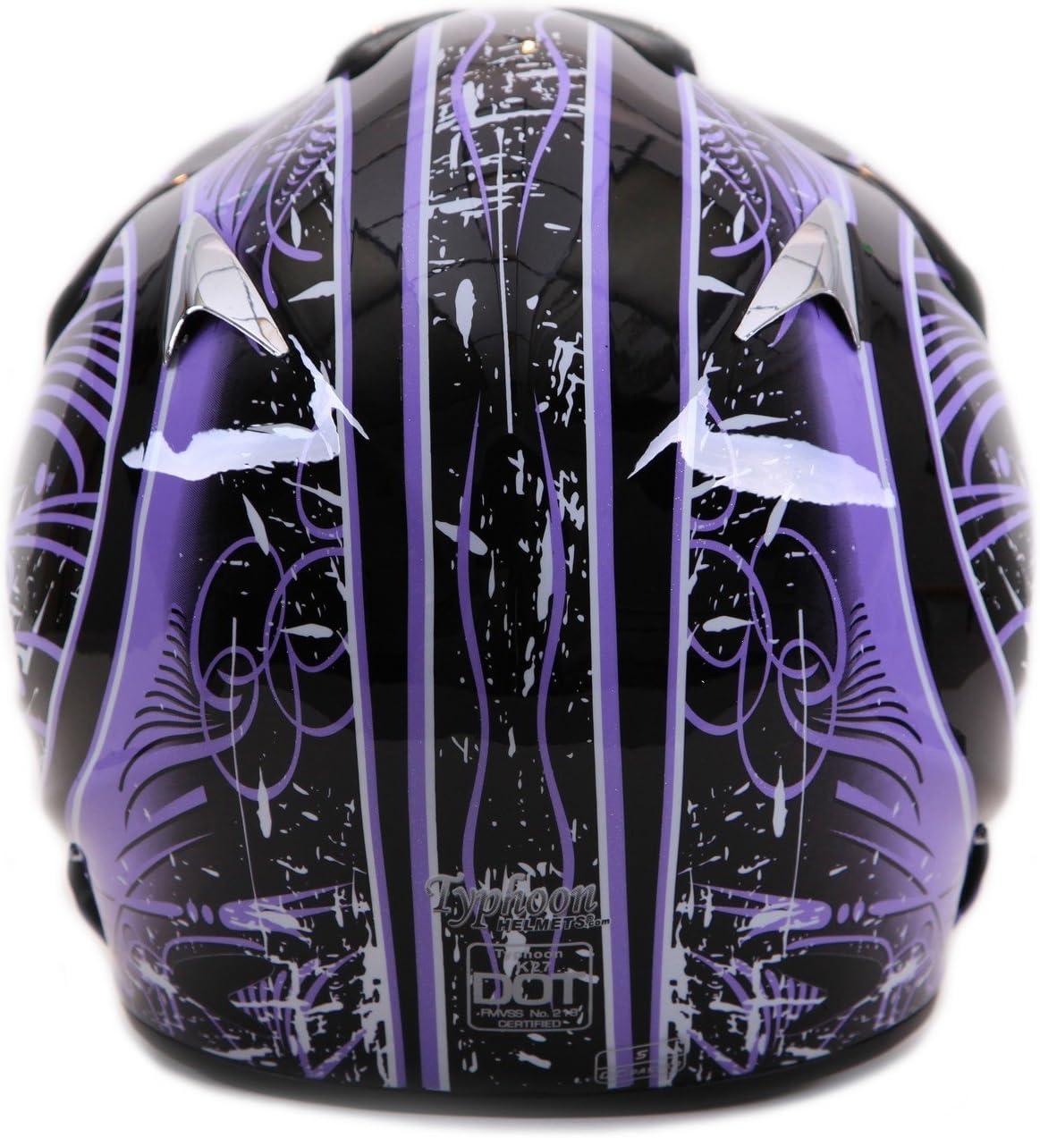 Typhoon Adult ATV Helmet Goggles Gloves Gear Combo Purple Splatter Small
