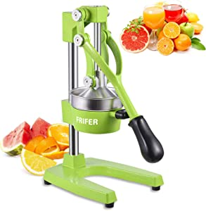FRIFER Citrus Manual Juicer, Commercial Orange Juice Machine, Professional Fruit Hand Press Squeezer, Lemon Lime Pomegranate Fruit Extracter (Manual Juicers, Green)