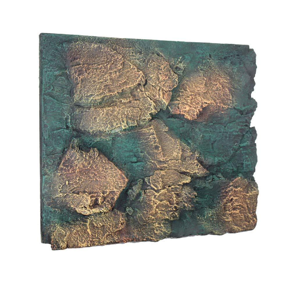 Caige Aquarium Reptile 3D Rock Shape PU Foam Background,Green by Caige