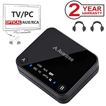 Avantree Audikast Transmisor Bluetooth 4.2 para TV, TOSLINK Óptico Digital, baja latencia aptX para