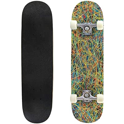 Classic Concave Skateboard Motley Colored Vector Background Longboard Maple Deck Extreme Sports and Outdoors Double Kick Trick for Beginners and Professionals : Sports & Outdoors