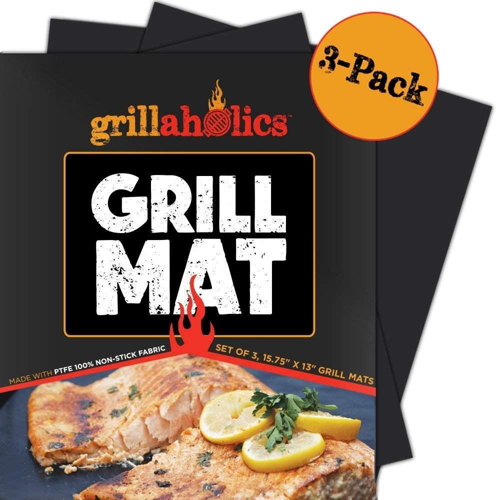 Grillaholics Grill Mat - Set of 3 Heavy Duty BBQ Grill Mats - Non Stick Reusable and Dishwasher Safe Barbecue Grilling Accessories - Lifetime Manufacturers Warranty