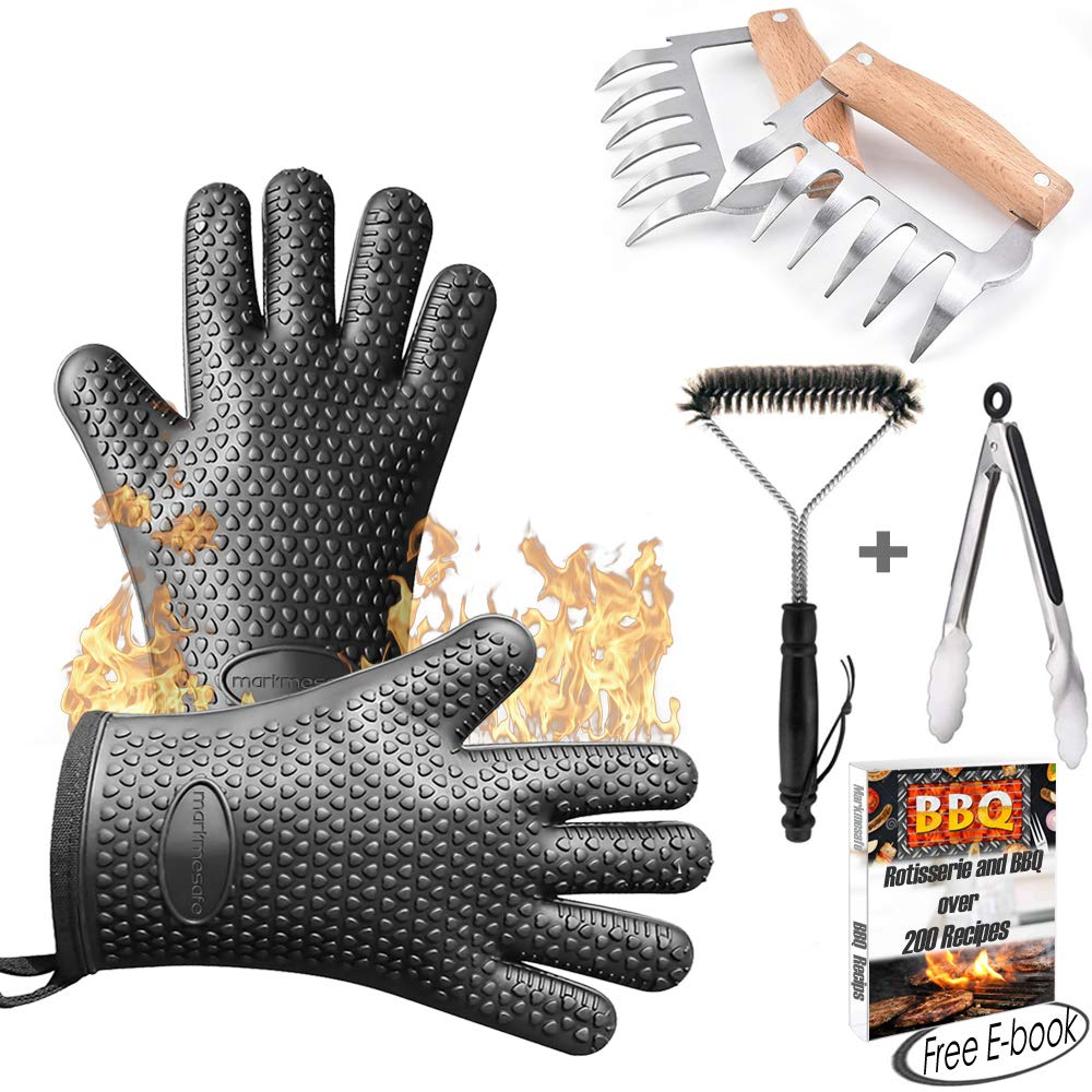 Silicone BBQ Gloves/Cooking Gloves Grilling Tool Accessories Set 6 Pcs - Heat Resistant Gloves, Meat Shredder Claws,Grill Brush,Barbecue Tongs,Free Recipes eBooks - Satisfaction Guarantee (One Size) Markmesafe