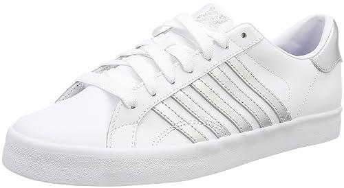 K-Swiss Belmont So, Zapatillas Para Mujer, Blanco (White/Gray Lilac Stripes), 39 EU