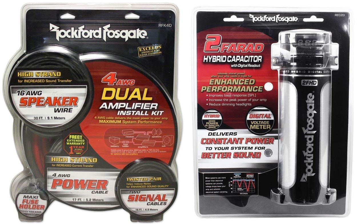 Package: Rockford Fosgate RFK4D 4/8 gauge dual amplifier install kit made of 100% pure crystal-oxygen free copper + Rockford Fosgate RFC2D RFC-2D 2 Farad Digital Car Power Capacitor