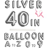 """Rose&Wood 40"""" Single Silver Alphabet Letter Balloons Aluminum Hanging Foil Film Balloon Mylar Balloons Party Decoration(40"""",L"""