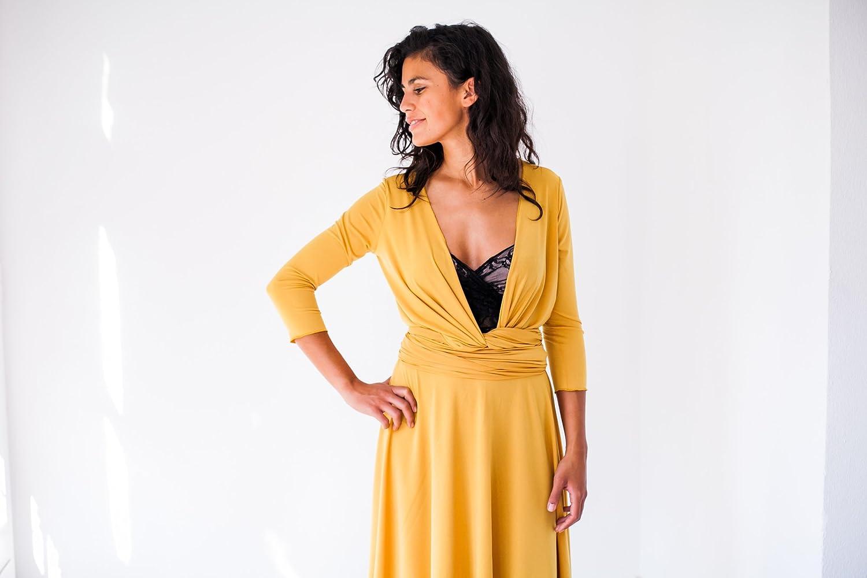 Amazon.com: Long yellow dress with sleeves, yellow evening dress with sleeves, mustard yellow dress, mustard long sleeve dress, long yellow wrap dress: ...