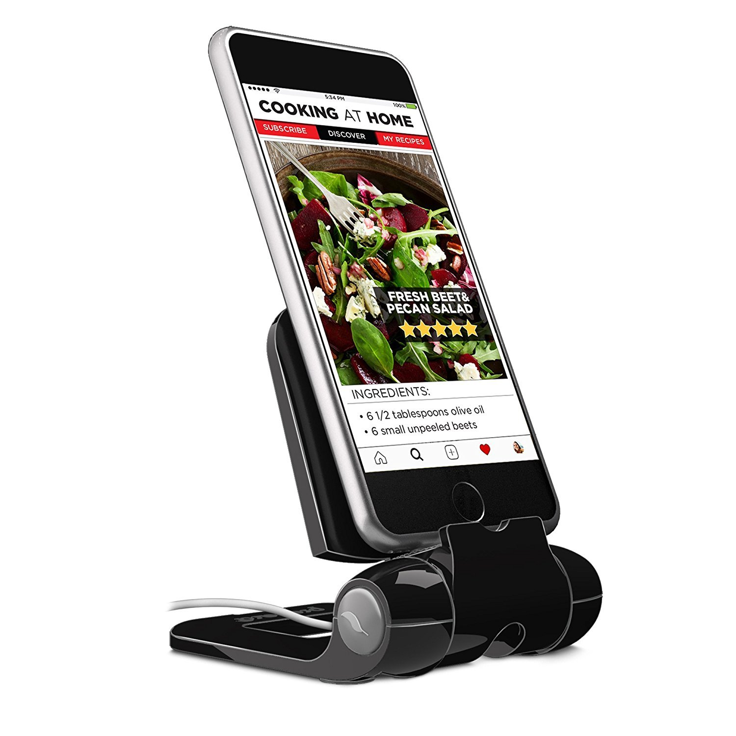 Foldable Cell Phone Stand, Prepara iPhone Stand : Adjustable Stand, Holder, Cradle for all Android Smartphone, iPhone X 8 7 6s 6 Plus 5 5c, Charging Capable, Desk Accessories – Black