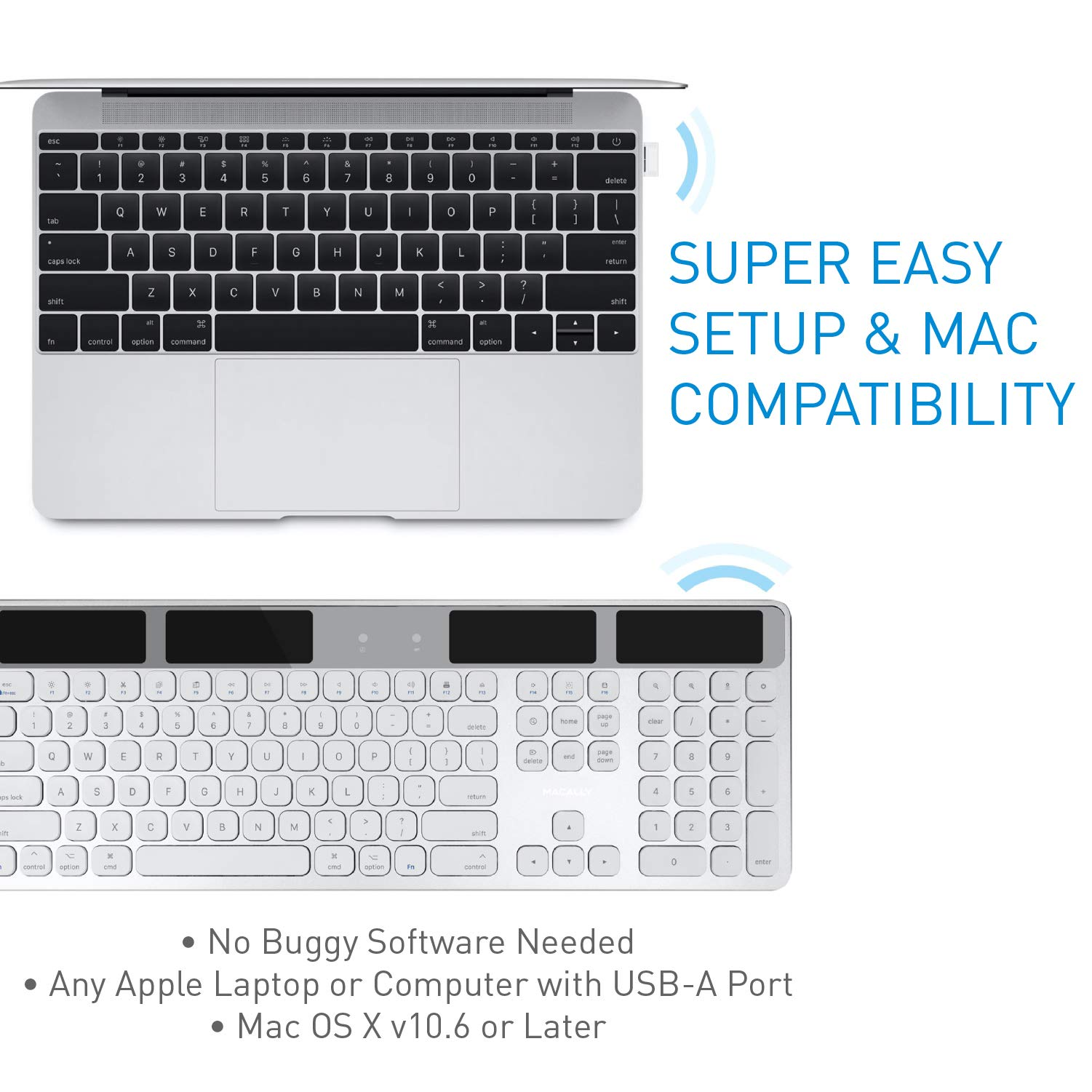Macally Wireless Solar Keyboard for Mac Mini/Pro, iMac Desktop Computers & Apple MacBook Pro/Air Laptops | 2.4 Ghz RF USB Dongle | Caps Lock/Battery Indicators - Silver Aluminum, Gray by Macally (Image #6)