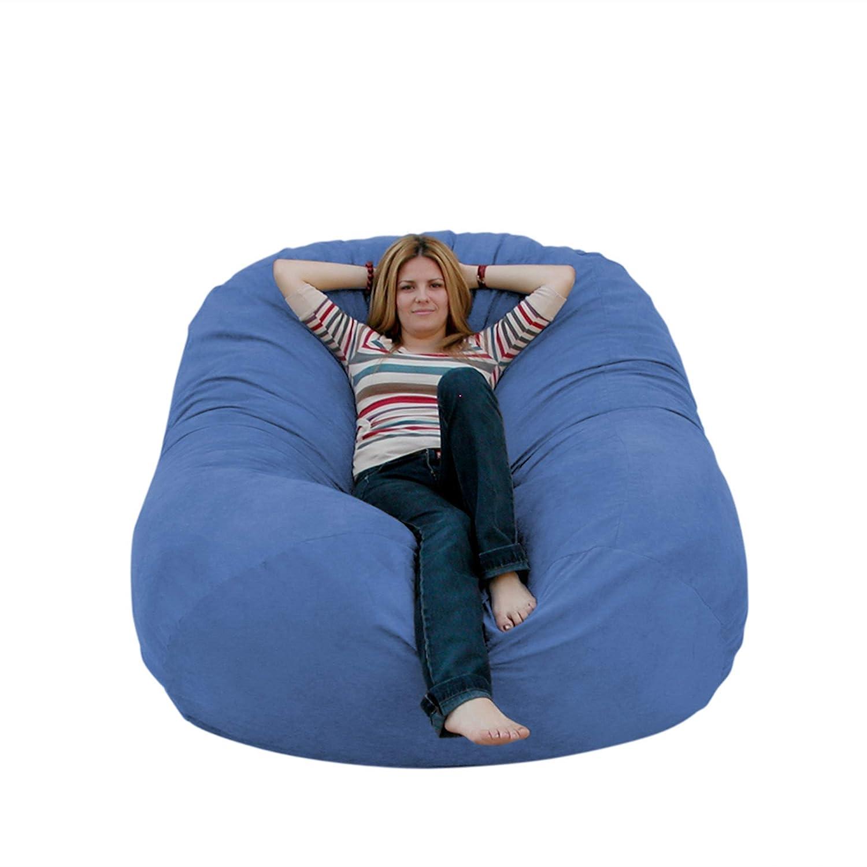 Sky bluee 6 feet Cozy Sack 4-Feet Bean Bag Chair, Large, Navy