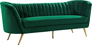 "Meridian Furniture Margo Collection Modern | Contemporary Velvet Upholstered Sofa with Deep Channel Tufting and Rich Gold Stainless Steel Legs, Green, 88"" W x 30"" D x 33"" H"