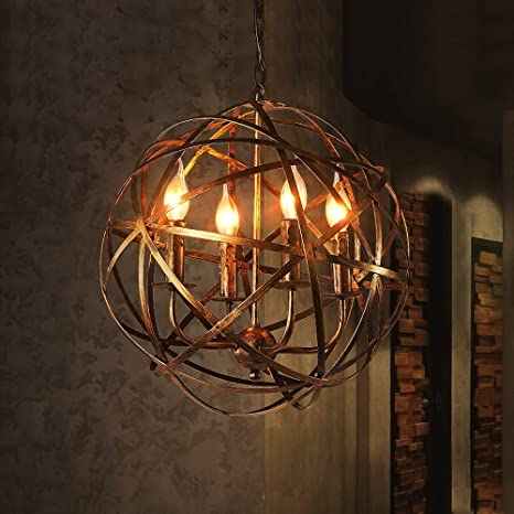 NIUYAO Industrial Vintage Rustic Wrought Iron Style Aged Brass Candle Chandelier Globe Shade Pendant Light Hanging