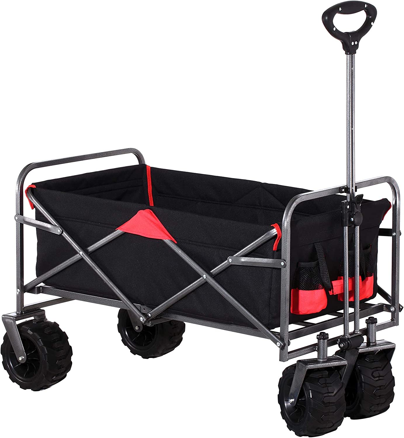 Outdoor Innovations Heavy Duty Collapsible All Terrain Folding Beach Wagon Utility Cart (Black/Red)