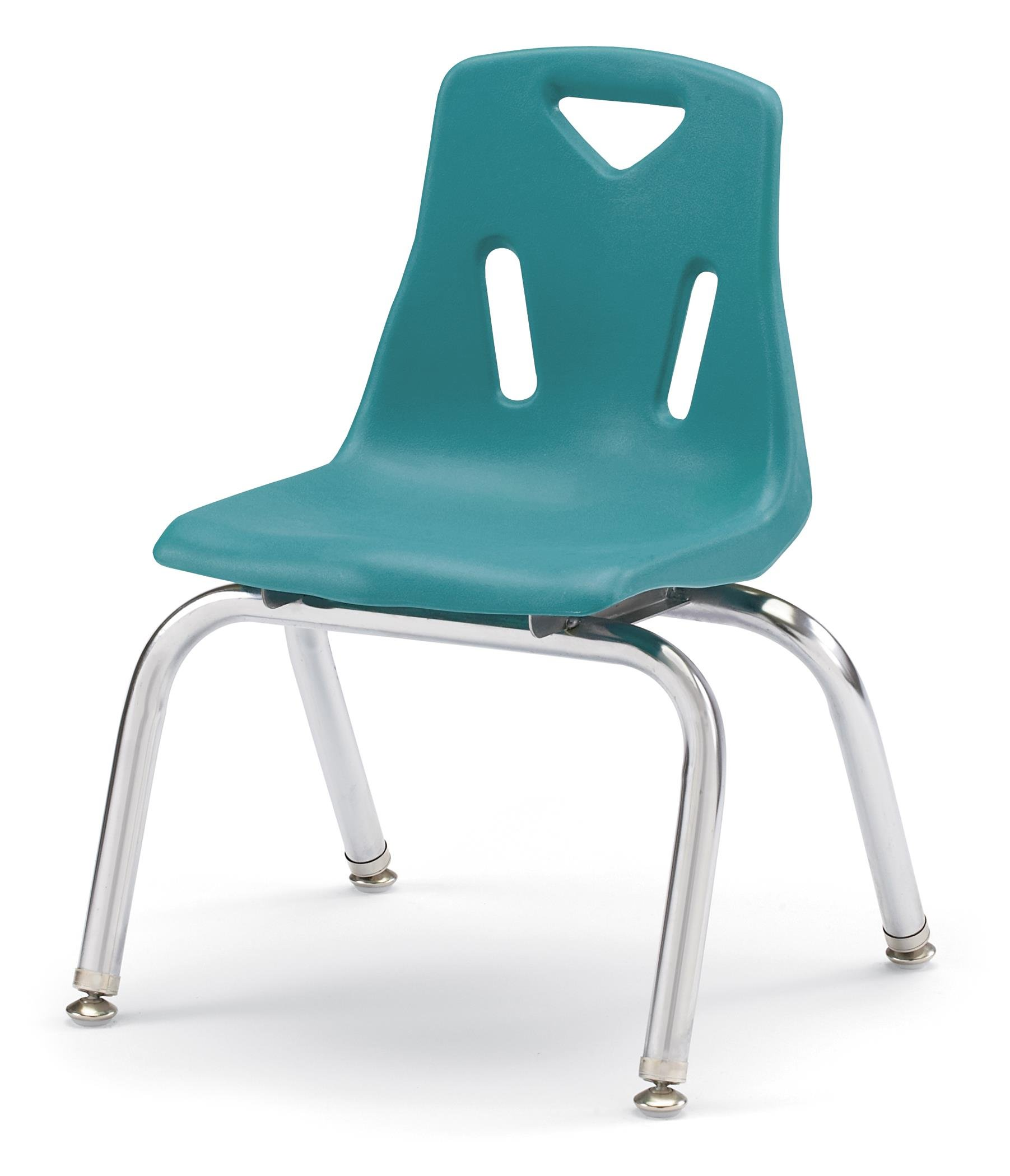 Berries Stacking Chairs with Chrome-Plated Legs Teal/Set of 6/18'' Seat Height