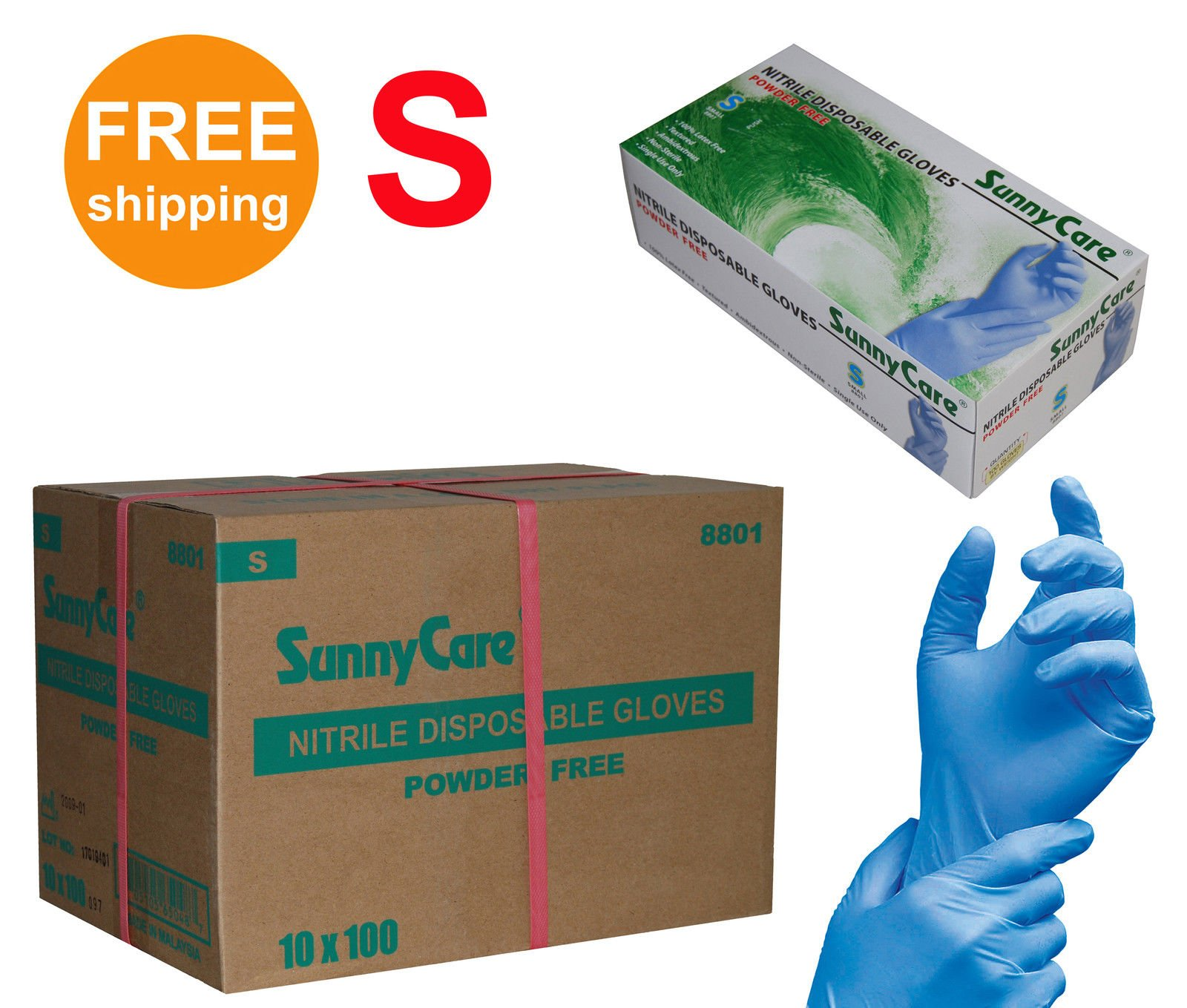 SUNNYCARE #8801 Nitrile Disposable Gloves Powder Free Size: Small 1000pcs/Case ;100pcs/box;10boxes/case