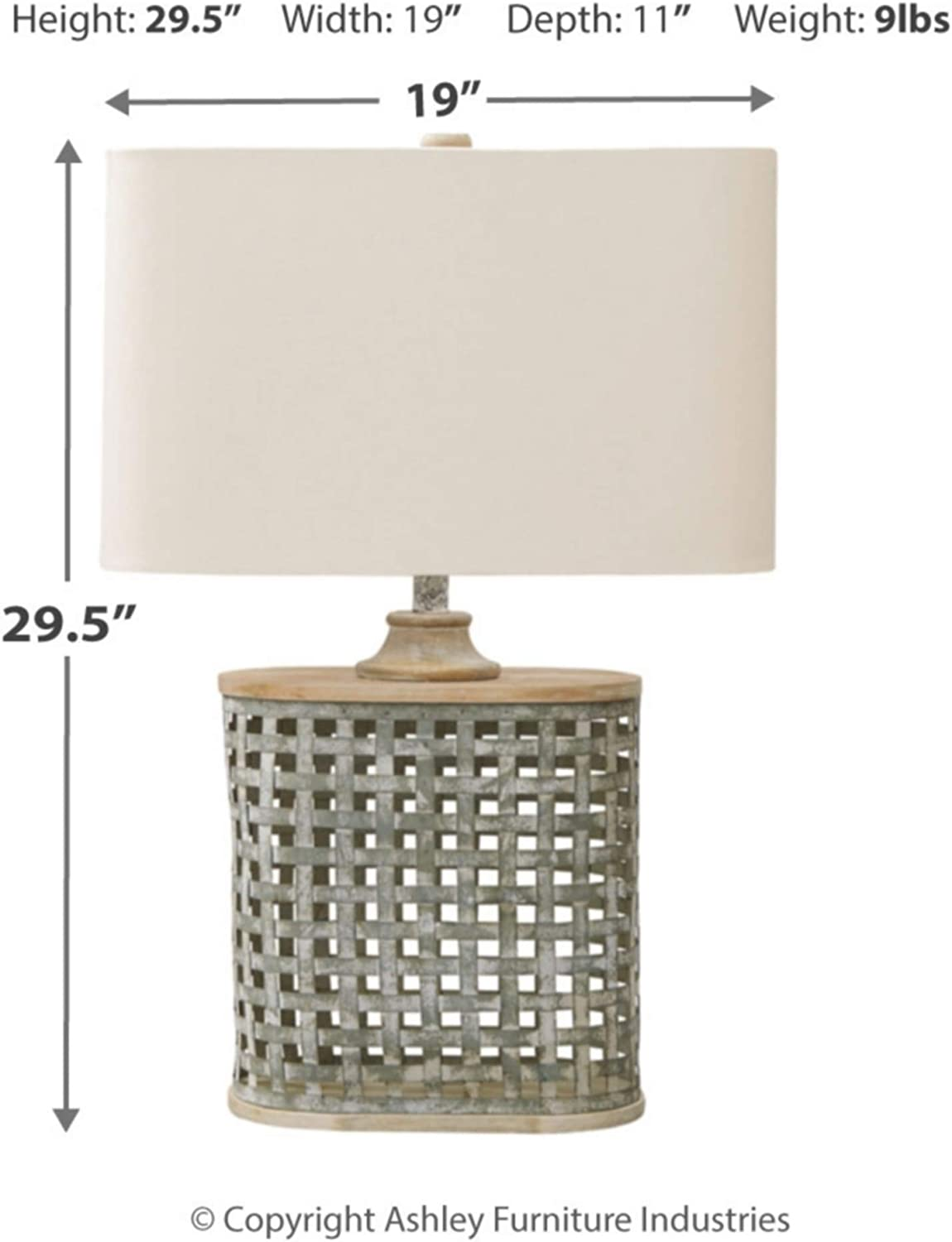Signature Design By Ashley L208234 Deondra Metal Table Lamp Gray