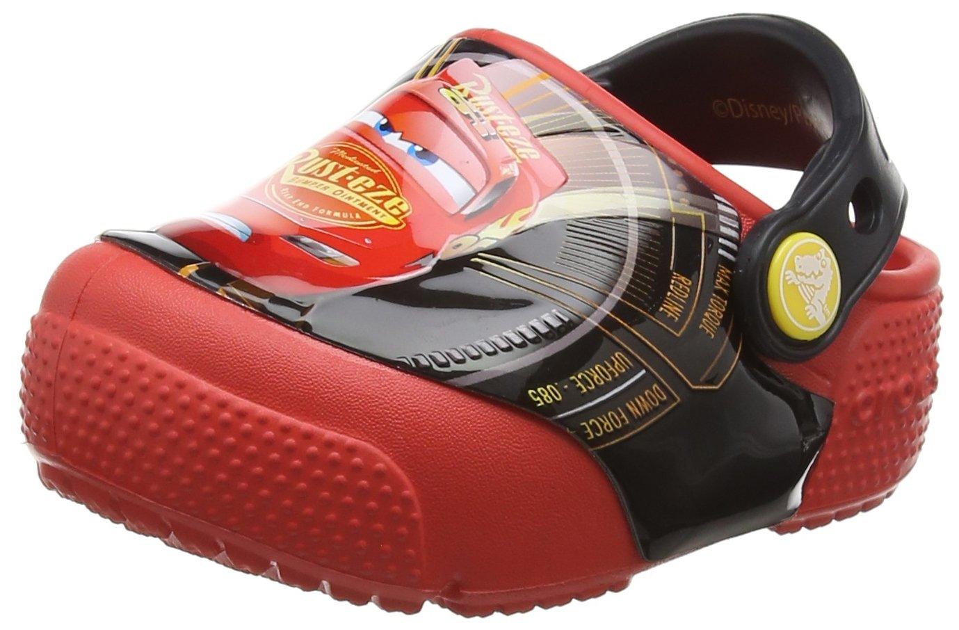 Crocs Kids' Crocsfunlab Lights Cars 3 Clog, Flame, 12 M US Little Kid
