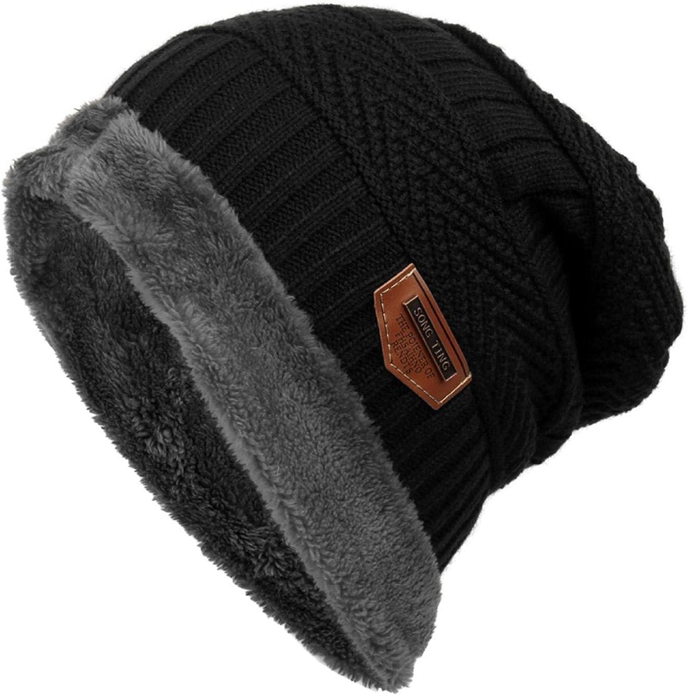 Women Men Fashion Fleece Contrast Color Beanie Knitted Warm Winter Hat B98B