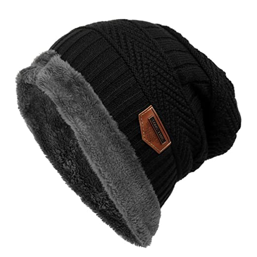 22ccd639c Tiowea Knitted Warm Winter Hats Fashion Fleece Beanie Caps for Women Men