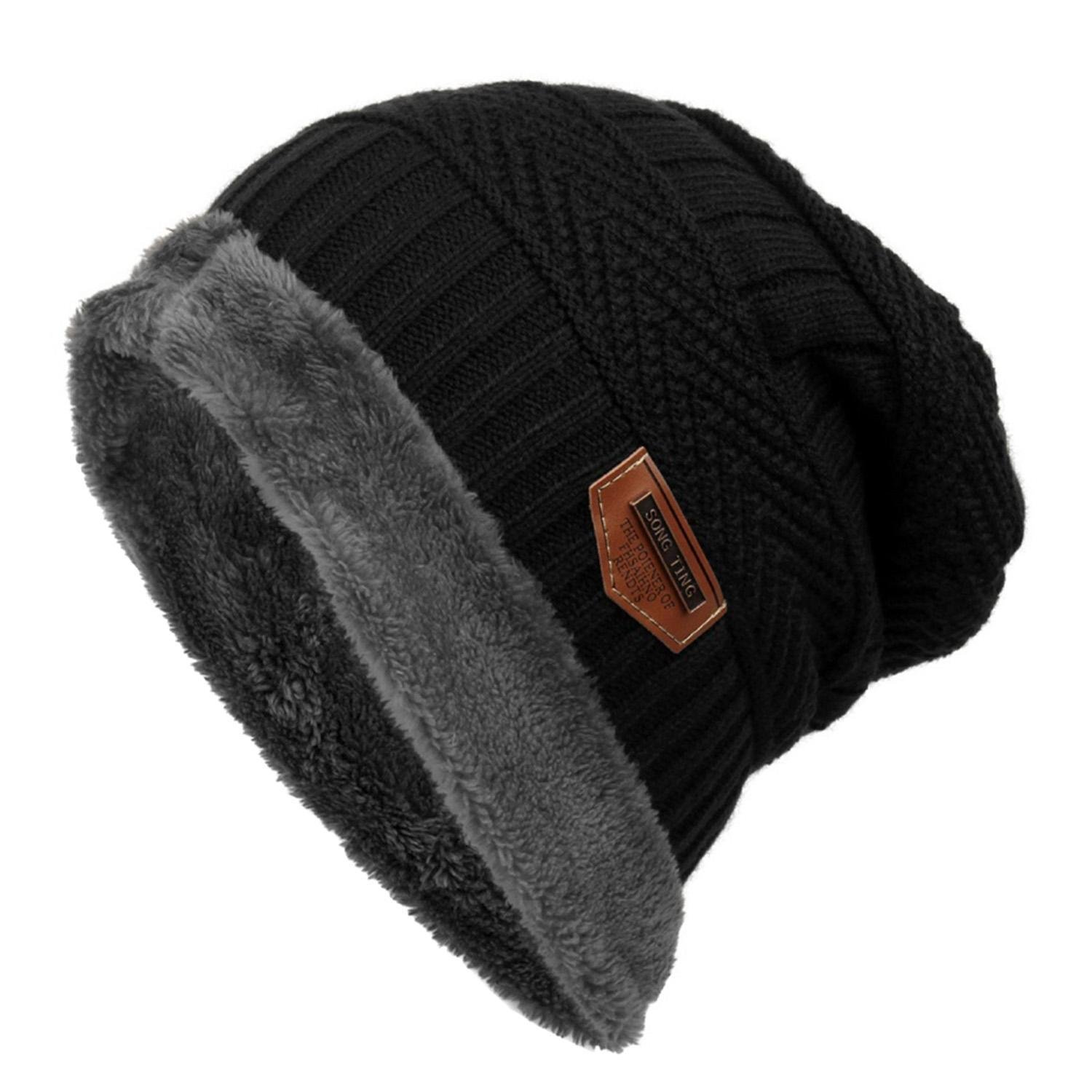 olseti Women Men Fashion Fleece Contrast Color Beanie Knitted Warm Winter Hats & Caps