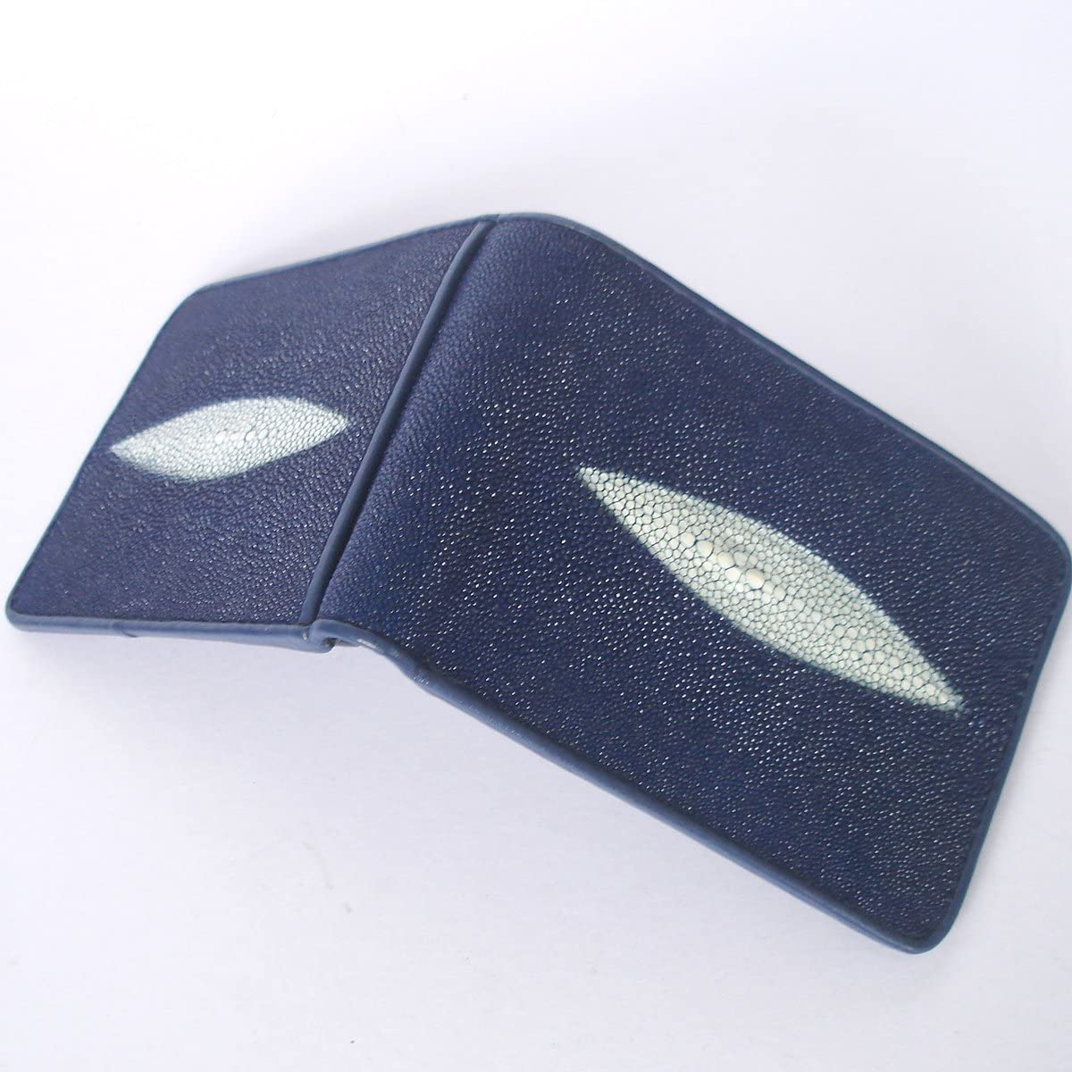 BEAUTIFUL GENUINE STINGRAY LETHER WALLET BLUE COLOR WITH 2 WHITE PEARL BOTH SIDE