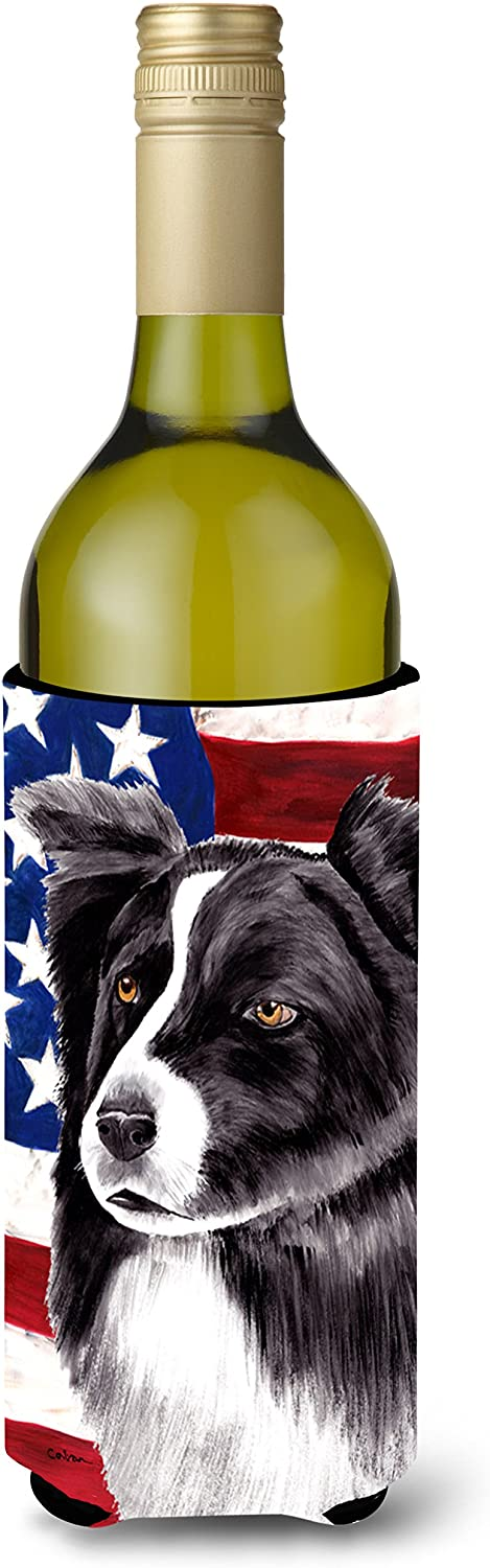 Caroline's Treasures SC9009LITERK USA American Flag with Border Collie Wine Bottle Beverage Insulator Beverage Insulator Hugger, Wine Bottle, multicolor