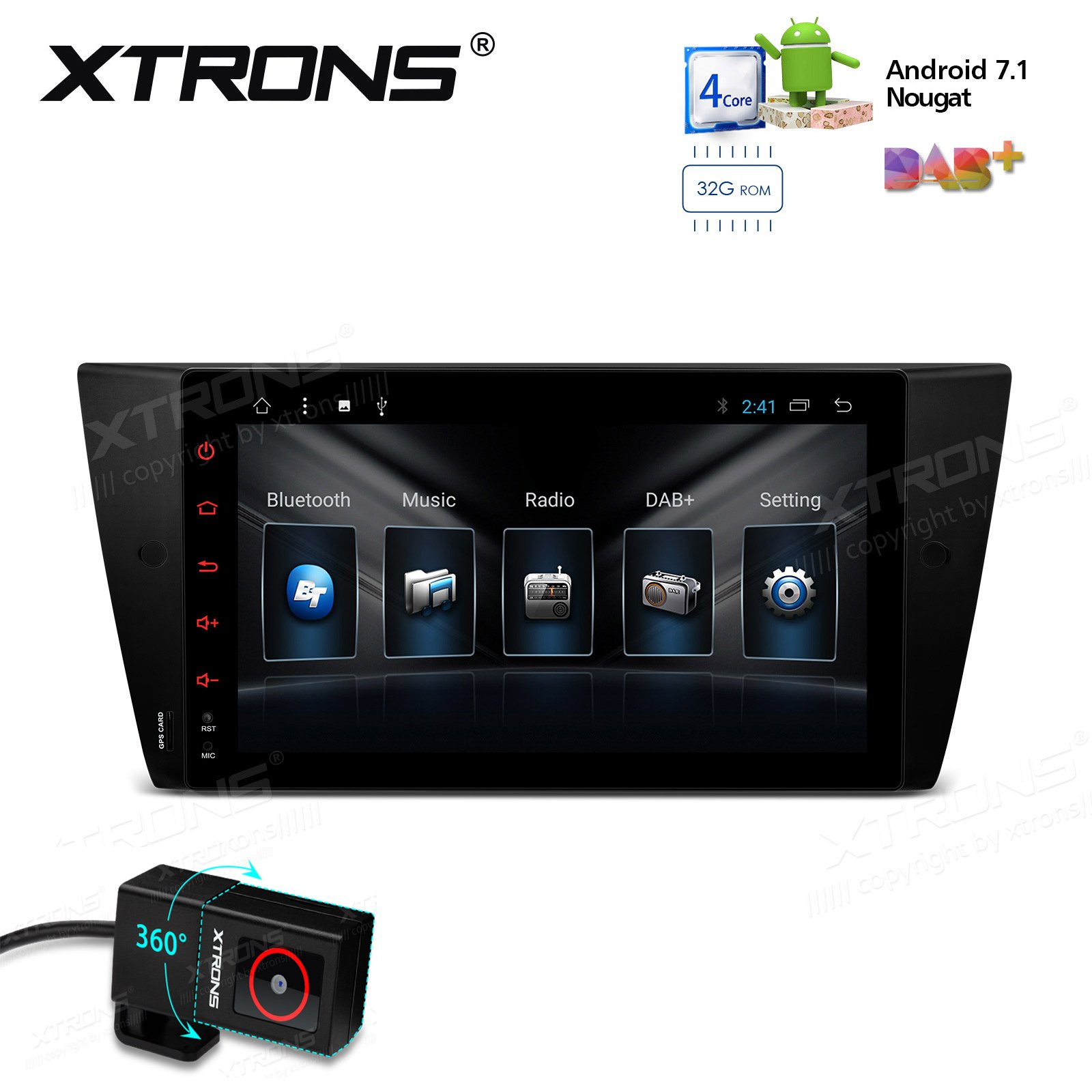 XTRONS Android 7.1 Quad Core 9 Inch 2G RAM 32G ROM HD Digital Multi Touch Screen Car Stereo Radio Player GPS OBD2 for BMW E90 M3 Car DVR Included