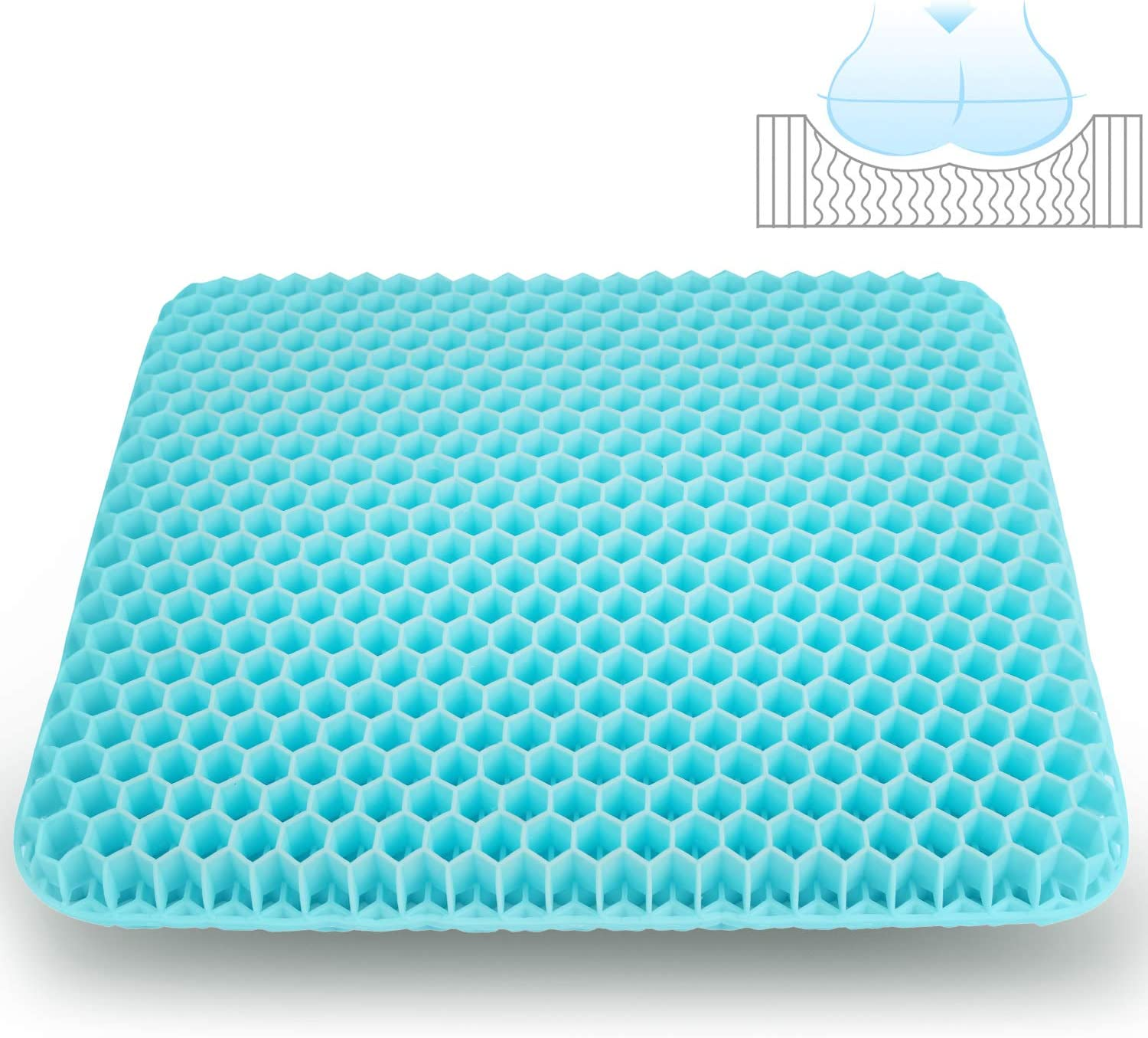 STSTECH Gel Seat Cushion for Office Chair Home Cars Wheelchair,Double Layer Seat Cushion Breathable Honeycomb Pressure Relief Egg Sitting Pad with Anti-Slip Washable Cover (Pattern-01)