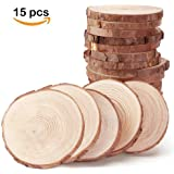 Natural Wood Slices with Tree Bark, Wood Discs ,3.1-3.5 inch 15pcs by MAIYUAN
