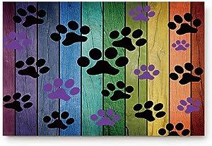 Dirty Dog Paw Prints Doormats Entrance Front Door Rug Outdoors/Indoor/Bathroom/Kitchen/Bedroom/Entryway Floor Mats,Non-Slip Rubber,Low-Profile 18 x 30 inch