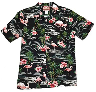d482013e0 RJC Men's Flamingo and Palm Tree Hawaiian Shirt at Amazon Men's ...