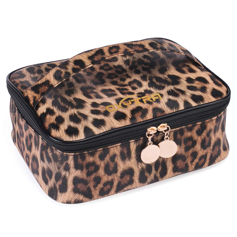 OXYTRA Travel Makeup Bag Leopard Print PU Leather Cosmetic Bag Organizer for Women- Portable Multifunction Toiletry Bags with Adjustable Dividers (Leopard Print)