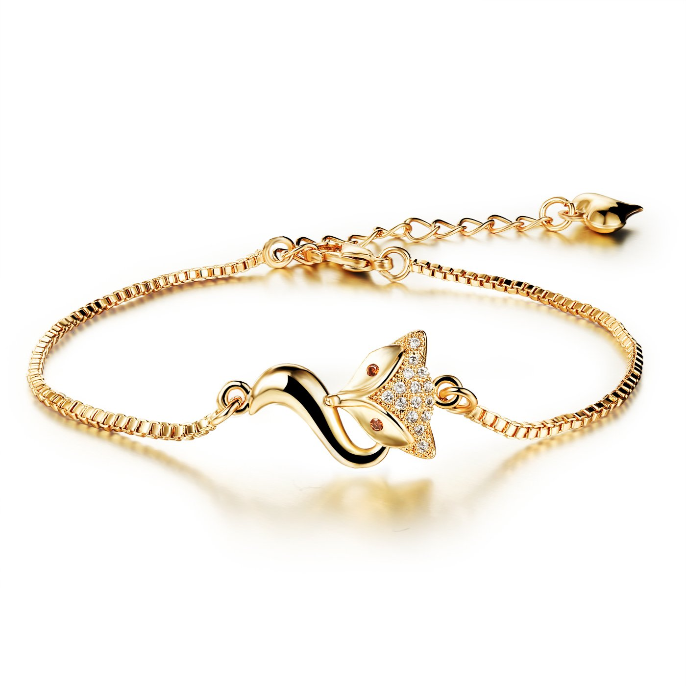 18K Gold Tone Titanium Steel Lucky Fox Bracelet for Women L6.27+1.7''