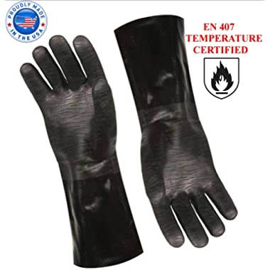 Artisan Griller BBQ Heat Resistant Insulated Smoker, Grill, Fryer, Oven, Brewing, Cooking Gloves. Great for Barbecue/Frying/Grilling – Waterproof, Fire&Oil Resistant Neoprene-1 Pair Size 10/XL-14
