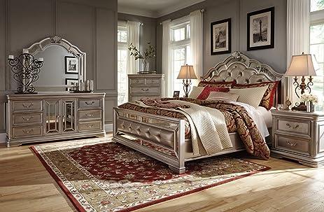 Amazon.com: Ashley Birlanny Mirrored Panel Bedroom Set - Queen ...